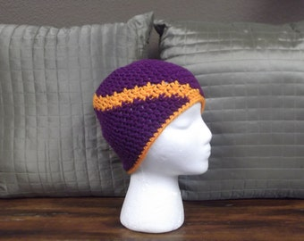 Purple and orange swirled striped hat