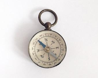 Miniature Brass Compass Compass Fob Compass Necklace Compass Charm Working Compass