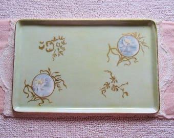 Antique Hand Painted GDA France Haviland Limoges Porcelain Vanity Dresser Tray