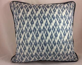 "Jim Thompson 100% thai silk ""Felicita"" in blue thistle pillow cover"