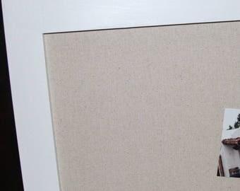 """FRAMED MAGNET BOARD Large Magnetic Bulletin Board 29""""x41"""" Vintage Wedding Frame Kitchen Bulletin Board Modern frame Gray Linen Magnet Board"""