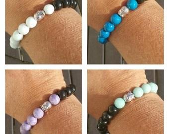 Man pearl bracelet wood and gems stones