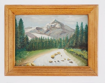 Vintage Mountain Painting - Original Painting - Framed