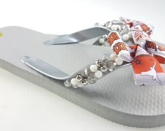 Texas Longhorns beaded Flip Flops