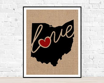 "Ohio (OH) ""Love"" or ""Home"" Burlap or Canvas Paper State Silhouette Wall Art Print / Home Decor (Free Shipping)"