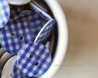 12pcs, 19mm, Blue Checker Flat Black Button