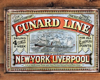 Vintage wooden sign 'Cunard Line, 4 Times a Week' Reproduction concept