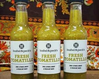 B&P's Tomatillo Hot Sauce - Three Bottles - Small Batch Handmade