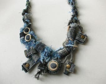 World of jeans...Recycled jeans necklace, eco-friendly textile jewelry, hand wrapped tribal chanky denim fiber necklace with bamboo beads.
