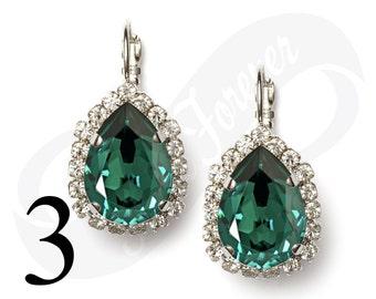 Set of 3 Earrings Emerald Earrings Green Earrings Bridal Jewelry Bridesmaid Jewelry Leverback Earrings Rhinestone Earrings Bridesmaid Gift