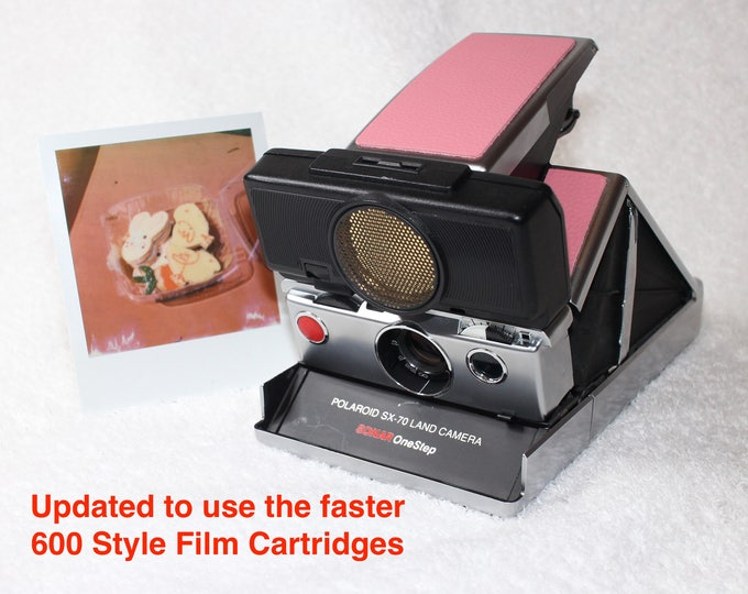 Rebuilt Polaroid SX70 Autofocus - Updated to use 600 Film Cartridges - Original Silver body with New Pink Skins