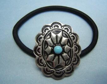 Concho, Ponytail Holder, Hair Elastics, Hair Ties, Made in America, Boho, pewter, antique finish, turquoise enamel, Free Shipping*, #80301-2