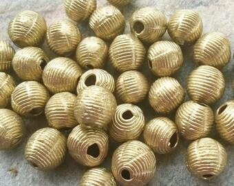 Ten African Brass Beads,Ashanti Brass Beads,African Lost Wax Brass Beads (10-12 mm) Ghana Tribal Brass,Ashanti Brass Beads,Ghana Brass Beads