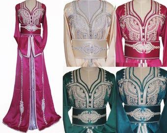 Moroccan Kaftan Caftan Wedding Bride Maxi Dress Party Crystal Diamontee Size S M L