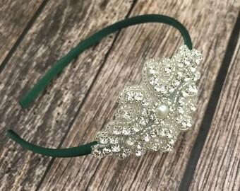 Rhinestone headband, green headband, flower girl headband, wedding headband, dressy headband, formal headband, halo, baby headband,