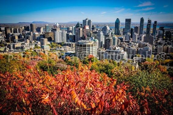 Montreal Skyline Photo Mont Royal Belvedere Photo Fine Art Photography Montreal Québec Downtown View Vibrant Autumn Colors Urban City View