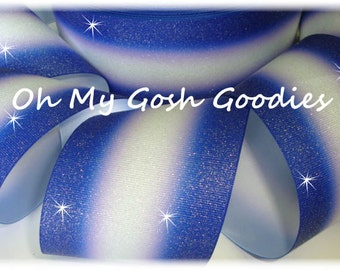 """DOUBLE GLITTER OMBRE Royal White Cheer Grosgrain Ribbon Hairbow Supplies - 3"""" Width - 5 Yards - Oh My Gosh Goodies"""