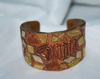 Vintage Mexican Mixed Metals Cuff Bracelet