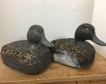 Antique Hand Carved Cork Bluebill Duck Decoy Pair - Minnesota