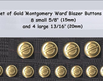 1 Set of Gold Metal Montgomery Ward Blazer Buttons 8+4 vintage collector