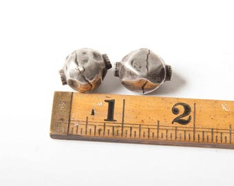 Two antique silver Afghan beads