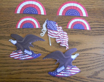 A (7 piece Set) of Anna Griffin Americana Ephemera for Crafting, Card Making and Scrapbooking  (Kit B-020)