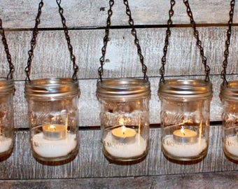 FREE SHIP 5 Garden Light Hanging Luminary DIY Mason Jar Lanterns-  Wide Mouth Black Chain Lids