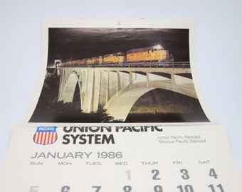 Union Pacific railroad calendars 1980 and 1986, Printed in USAmonthly calendar with pictures of Union Pacific RR, Train memorabilia