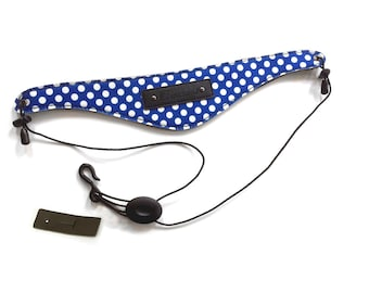 Beaumont Clarinet/Oboe Neck Strap Blue Polka Dot