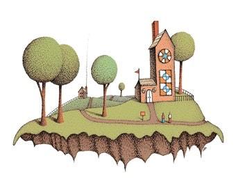 Illustration Print Illustration Art Prints Illustrations Church Castle Ink Drawing Mixed Media Giclee Print