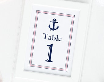 Nautical table numbers - Table numbers wedding - Beach wedding table numbers - Table numbers - Wedding table numbers - 5x7 table numbers