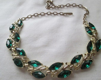 1950s Emerald Green Rhinestone Necklace