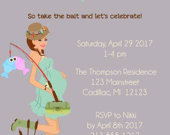 Twins Fishing Baby Shower Invitation - Twin Boys and Twin Girls Shower Invitations - Twins Baby Shower Invitation