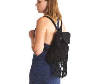 Suede Leather Fringe Hipster Backpack,Convertible Bag,Knapsack Back Bag,Burning Man Boho Festival Clothing, Hippie.Gift For Her,Christmas.