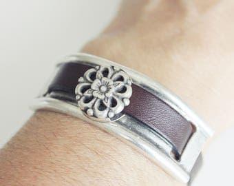 Women leather half bracelet cuff, genuine Dark brown leather bracelet, beaded bracelet, leather jewelry trend, gift for her, Floral bracelet