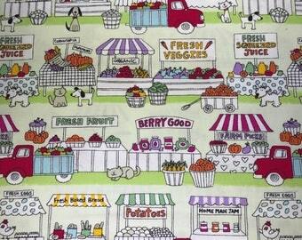 farmers market fabric, fresh veggies, home made jam, fresh baked bread, organic, market fabric