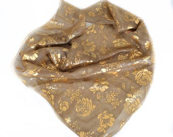 Gold Scarf, Antique Gold Silk Scarf, Gift for Wife, Birthday Gift for Mother in law Sparkly Gift for Friend, Wedding Shoulder Cover up