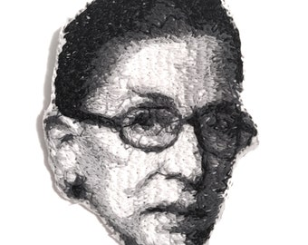 Ruth Bader Ginsburg Embroidered Portrait Pin with Leather Backing - the Notorious RBG