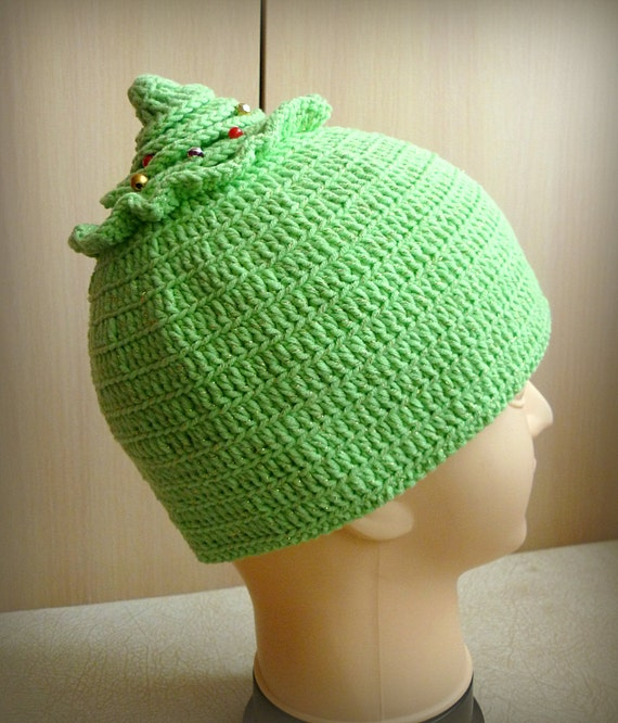 Knitting Patterns For Crazy Hats : CROCHET PATTERN Crochet Hat Pattern Christmas Tree Hat Funky Crazy hat Fir Kn...