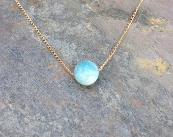 Larimar Single Bead Necklace / Larimar necklace / larimar jewelry