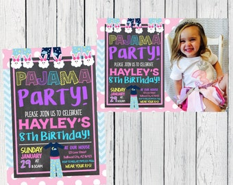 Pajama Slumber Party Personalized birthday invitation- ***Digital File***(pj-bluechev)