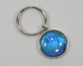 Blue Morpho Wing Keychain Tree of Life Silver Jewelry