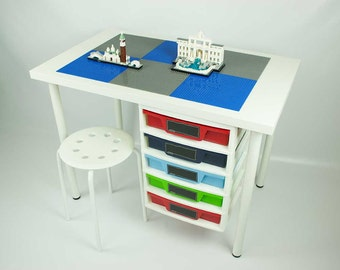 Building Desk with attached 5 drawer storage unit, 20x30 inch building area, 1 Stool