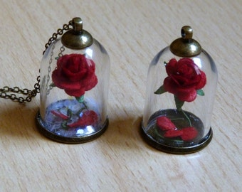 The Beast's Curse,bronze necklace, nickel and lead free,red rose,red petals,beauty and the beast,enchanted rose,terrarium, floral necklace.