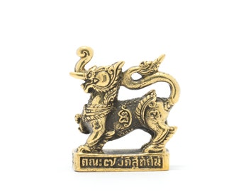 Thai Amulet statue Power Singha Hunting Money Wealth Rich Luck Good Business Attraction.