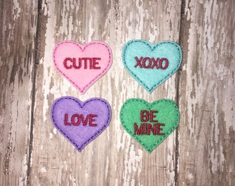 Set of 4 Conversation Heart Valentines Valentine Day Feltie Felt Embellishment Bow! Birthday Party Felties Planner Clip V-DAY Love Be Mine