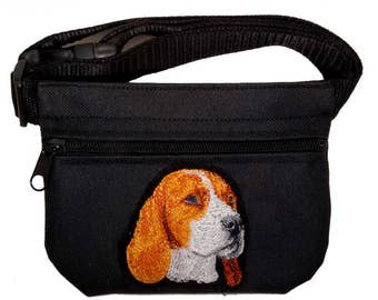 Beagle embroidered dog treat bag / treat pouch with belt. For dog shows, dog training and walking. Great gift for dog lovers.