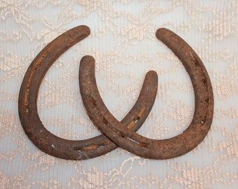 Rusted Lucky Old Iron HorseShoe Set of 2 Home Decor Gift Idea