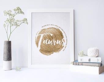Taurus Zodiac Wall Art Print - 8.5 x 11