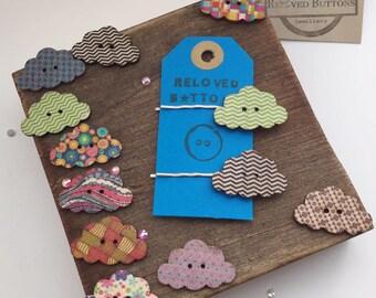 Rain cloud - hair clip - cloud - hair pin - hair accessories - hair clips girls - hair slide - hair clips for women - wooden button - button